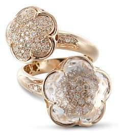 Pasquale Bruni 18K Rose Gold Bon Ton Champagne Diamond & Rock Crystal Floral Cocktail Ring