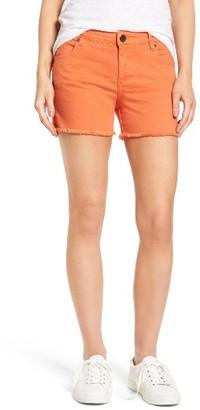 Women's Kut From The Kloth Gidget Fray Hem Orange Denim Shorts $69 thestylecure.com