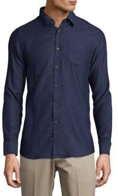 Report Collection Dot Cotton Casual Button-Down Shirt