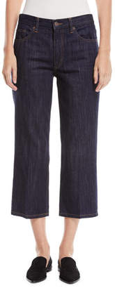 Marc Jacobs Wide-Leg Cropped Denim Pants w/ Contrast Topstitch