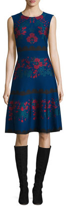 St. John Collection Ruby Rose-Jacquard Fit-&-Flare Dress, Prussian Blue/Multi $1,195 thestylecure.com