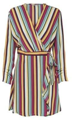 Only Striped Long-Sleeve Wrap Dress