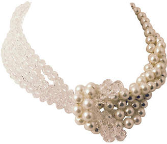 One Kings Lane Vintage Crystal & Faux-Pearl Knot Necklace - Owl's Roost Antiques