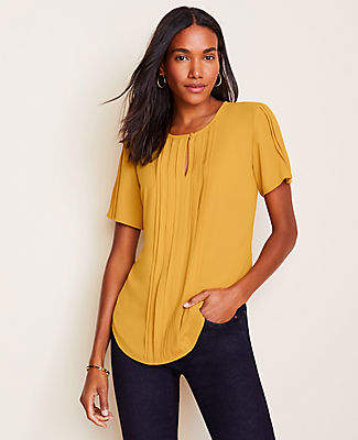 Ann Taylor Pleated Keyhole Top