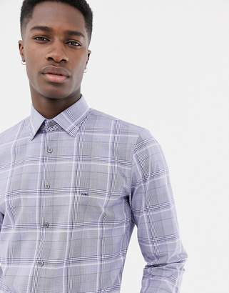 Michael Kors slim fit stretch shirt in grey prince of wales check