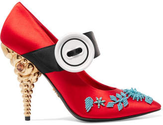 Prada Embellished Satin Pumps - Red