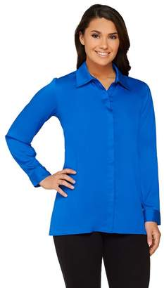 Joan Rivers Classics Collection Joan Rivers Silky Blouse with Hi-low Hem