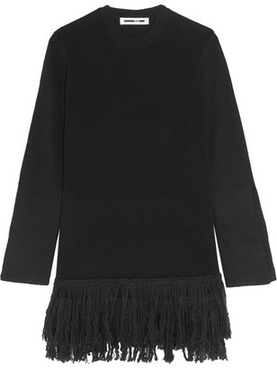 McQ Alexander McQueen - Fringed Wool Mini Dress - Black $550 thestylecure.com