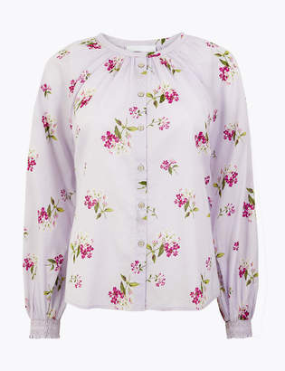 Marks and Spencer Pure Cotton Blouson Sleeve Blouse