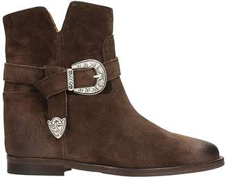 Via Roma 15 Brown Suede Leather Wedge Ankle Boots