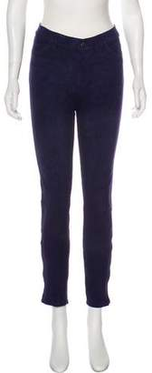 J Brand Suede Mid-Rise Skinny Jeans