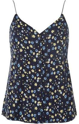 Dorothy Perkins Womens Navy Floral Button Front Camisole Top
