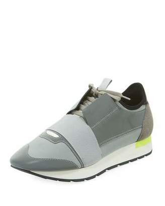 Balenciaga Men's Reflective Race Runner Mesh & Leather Sneakers, Gray