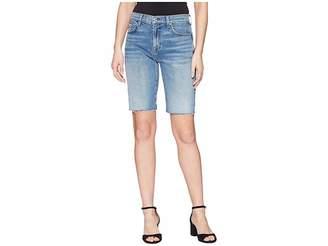 7 For All Mankind High-Waist Bermuda Shorts w/ Cut Off Hem in Desert Oasis 4 Women's Shorts