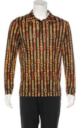 Gianni Versace Sheer Ornate Print Polo Shirt