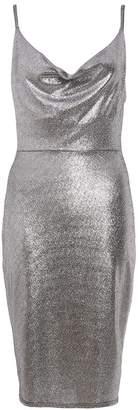Quiz TOWIE Silver Foil Cowl Neck Bodycon Dress