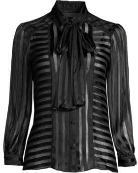 Alice + Olivia Willis Tie-Neck Sheer Stripe Blouse