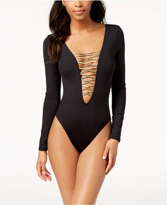 Kenneth Cole Plunging Lace-Up Front Long-Sleeve One-Piece Swimsuit Women's Swimsuit