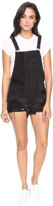 Blank NYC Black Cut Off Overalls in Rock Steady