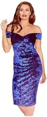 Jessica Wright Roberta Bardot Knot Front Velvet Midi Dress