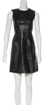 Theory Leather-Paneled Mini Dress