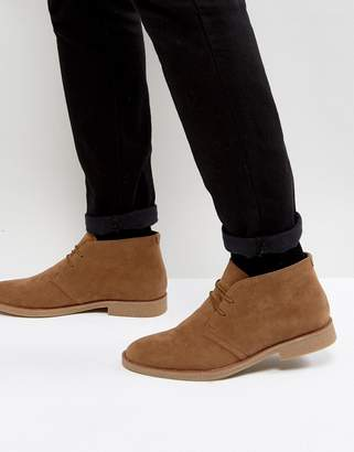 New Look Faux Suede Desert Boots In Tan