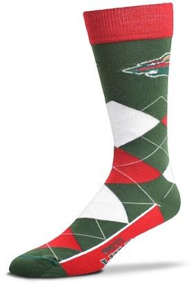 For Bare Feet Adult For Bare Feet Minnesota Wild Argyle Line Up Crew Socks