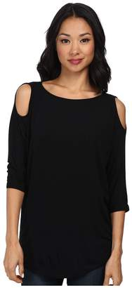 Michael Stars Lycra Jersey 3/4 Sleeve Cold Shoulder Tunic Women's Long Sleeve Pullover