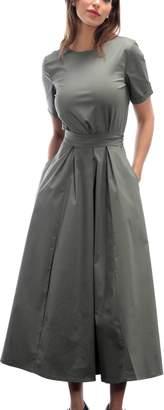 Altalana Long Parachute Dress With Belt 17-artichoke Green