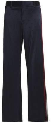 Derek Lam 10 Crosby Stretch-Silk Jacquard Flared Pants