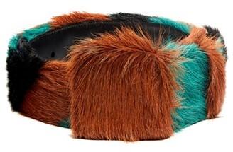 Prada Tri Colour Striped Calf Hair Belt - Mens - Brown Multi