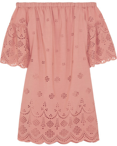 Madewell - Off-the-shoulder Broderie Anglaise Mini Dress - Antique rose