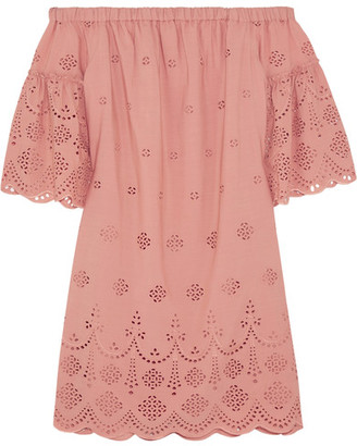 Madewell - Off-the-shoulder Broderie Anglaise Mini Dress - Antique rose $170 thestylecure.com
