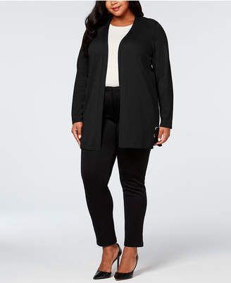 JM Collection Plus Size Grommet Lace-Up Cardigan