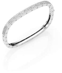 Roberto Coin Pois Moi Pave Diamond& 18K White Gold Single-Row Bangle Bracelet