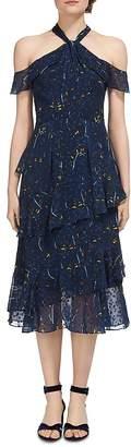 Whistles Wheatsheaf Print Cold-Shoulder Dress $389 thestylecure.com