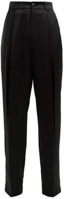 Joseph Riska Silk Satin High Rise Trousers - Womens - Black