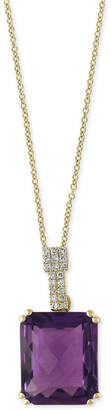 Effy Amethyst (4-3/4 ct. t.w.) and Diamond Accent Pendant Necklace in 14k Gold