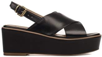 Fabio Rusconi Black Leather Wedge Sandal