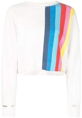 RE/DONE Crew Neck Rainbow Stripe Sweatshirt