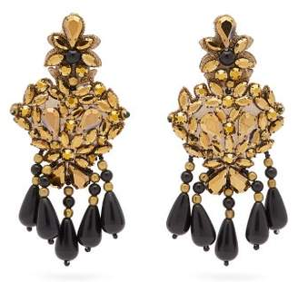 Etro Beaded Crystal Chandelier Clip Earrings - Womens - Black