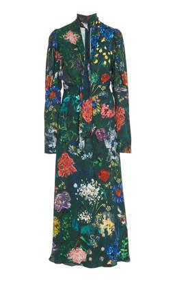 Lela Rose Ruched Sleeve Tie Neck Midi Dress