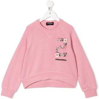 DSQUARED2 floral embellished logo sweatshirt