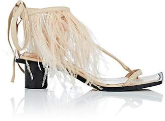 Helmut Lang WOMEN'S FEATHER-EMBELLISHED ANKLE-WRAP SANDALS - SAND SIZE 7