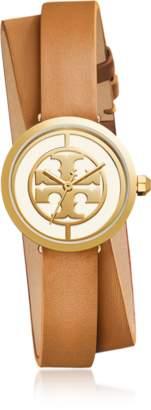 Tory Burch TBW4018 The Reva Double Wrap Luggage Leather Women's Watch