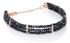 Meira T Silverite, Diamonds& 14K Rose Gold Beaded Three-Row Bracelet