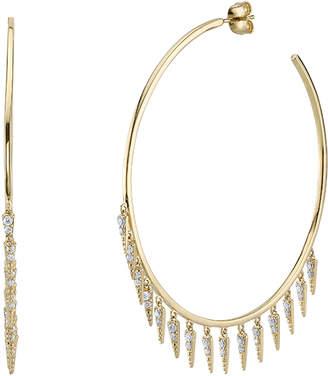 Sydney Evan Large Fringe Drop Hoop Earrings with Diamonds