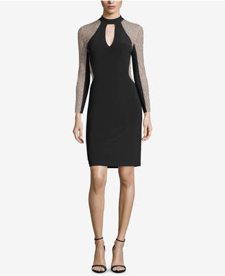 Xscape Evenings Petite Beaded Colorblocked Sheath Dress