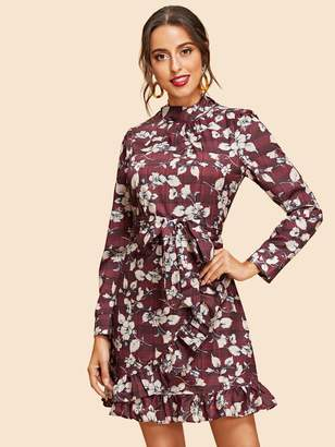 Shein Ruffle Wrap Belted Floral & Plaid Dress