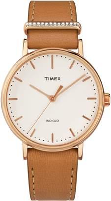 Timex R Fairfield Leather Strap Watch, 37mm